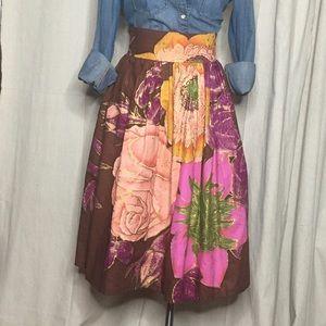 Custom-made Floral Print A-Line Midi Skirt